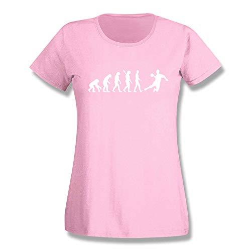 T-Shirt Evolution Handball DKB HBL Bundesliga THW Füchse Wetzlar Minden Lemgo Gummersbach Kreisläuferin 15 Farben Damen XS-3XL, Größe:S, Farbe:rosa/Light pink - Logo Weiss