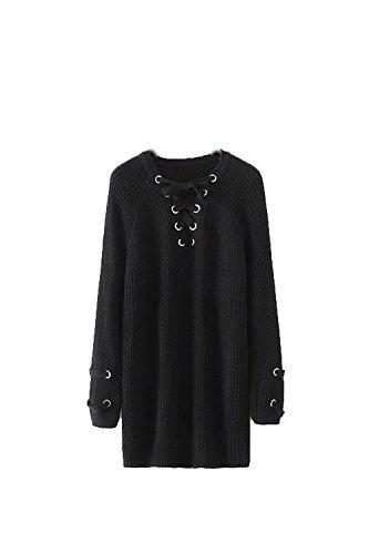 YACUN Femmes À Lacets Maxi Mini - Robe - Pull Pull Jumper Black