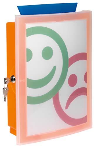 HAN Sammelbox IMAGE'IN 4102-61 in Transluzent-Orange / Abschließbare Box geeignet als Spendenbox oder Meckerkasten aus Kunststoff / Zur Wandmontage oder frei stehend und individuell gestaltbar