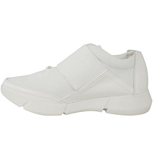 Femmes Runner Baskets Fitness Gym Sport Mode Chaussures Pointure BLANC FAUX CUIR