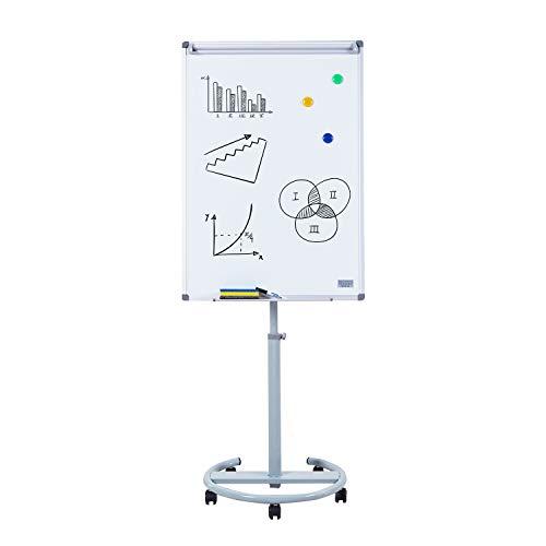 S SWANCROWN Mobiles Flipchart Whiteboard Magnetisch mit Rundfuß | Höhenverstellbar | Inklusive Papier Magnete Stift Schwamm, 100X70cm