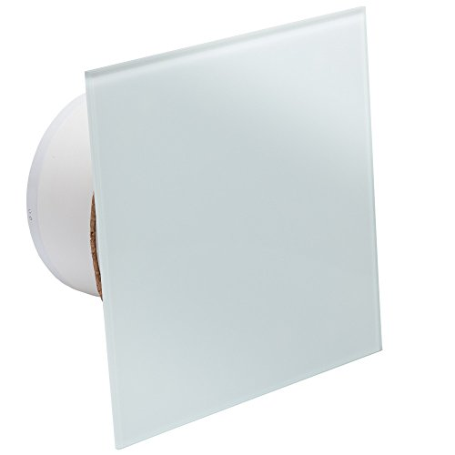 MB Ventilatoren | Badlüfter MMP-F-T 100 | Weiß Glänzend | Edle Glasfront |Feuchtigkeitssensor | Nachlauf-Timer | Kugellager | mit Rückstauklappe |quadratisch-flach | Ø 100 mm