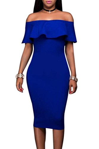 Le Donne Sono La Spalla Bodycon Vestito Elegante Blue