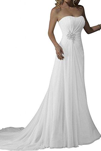 LYDIAGS lungo bianco chiffon semplice abito da sposa da sposa abito senza spalline White 44