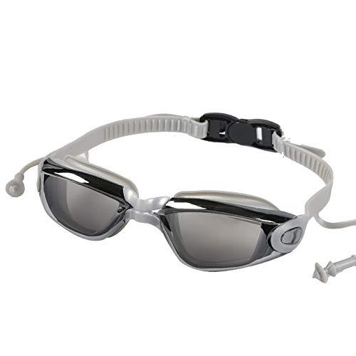 MRFENG Schwimmbrille, Schwimmbrille mit Antibeschlag und UV Schutz, Schutzbrille HD wasserdichte Antibeschlag- und UV-beständige Komfort-Silikon-PC-Schwimmbrille, grau