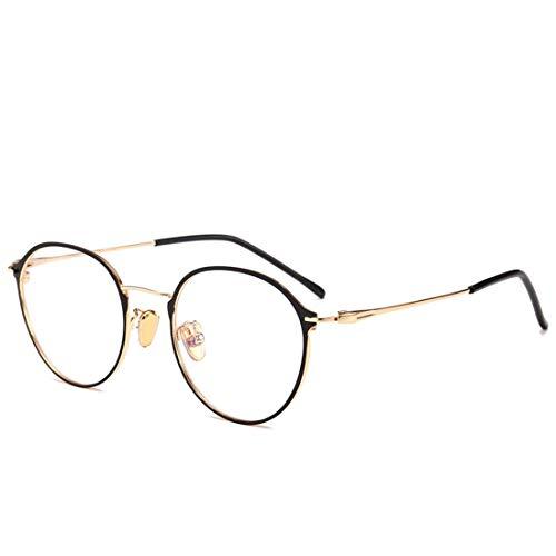 Sakuldes Fashion Brillenrahmen rund Metall Rahmen Nicht verschreibungspflichtige Brille für Damen und Herren Gold
