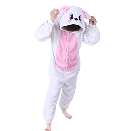 Z-Chen Pigiama Tutina Costume Animale - Bambina e Bambino, Coniglio Rosa, 9-11 Anni
