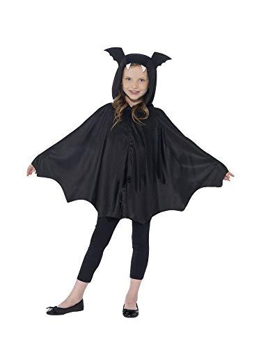 -Cape mit Kapuze für Kinder-Kostüm Vampir Umhang Fledermaus-Flügel Halloween Mädchen Jungen, Größe:S/M ()