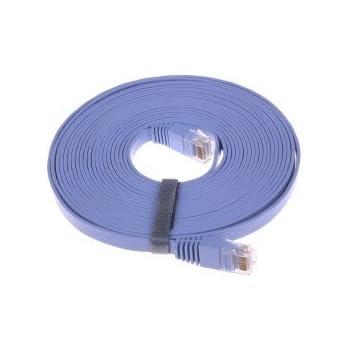 Ethernet Cat6 Réseau Câble - Haute Qualité Ultra Plat - Bleu - Longueur: 5 m