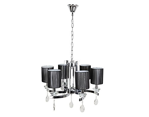 Aesthetichs Elite Steel and Black Shade Chandelier with High End Crystals
