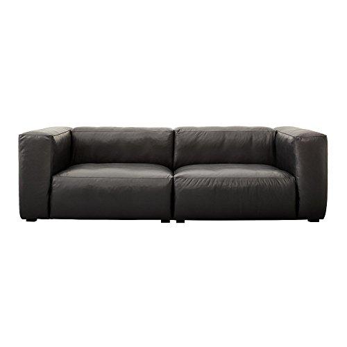 HAY Mags Soft Ledersofa 228x95.5x67cm, schwarz Beine schwarz Softleder Silk SIL0842 Schwarze Naht ohne Kissen