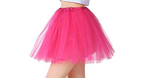 iLoveCos 80er Jahre Neon Tütü/Tutu / Tüllrock/Unterrock Petticoat Rüschen Pink Regenbogen Rot Rock Kostüm 1980er Fancy Dress für Mädchen (Rosa)