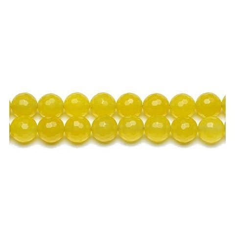 Fil De 45+ Jaune Terne Jade Malaisien 8mm Perles Rondes Facetté - (GS9986-3) - Charming Beads