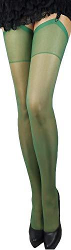 2 Paar klassische elastische Strapsstrümpfe alle Farben zum Anstrapsen Strapse Strümpfe 20 den (dunkelgrün)