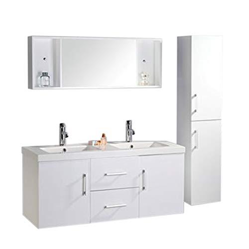 Simba mobile bagno + colonna completo 120 cm doppio lavabo rubinetti inclusi w mal nuovo imballato mod white malibù