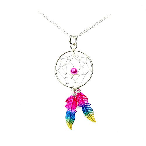 Kiara Jewellery - Collar con colgante de atrapasueños de plata de ley 925 con diseño de arcoíris
