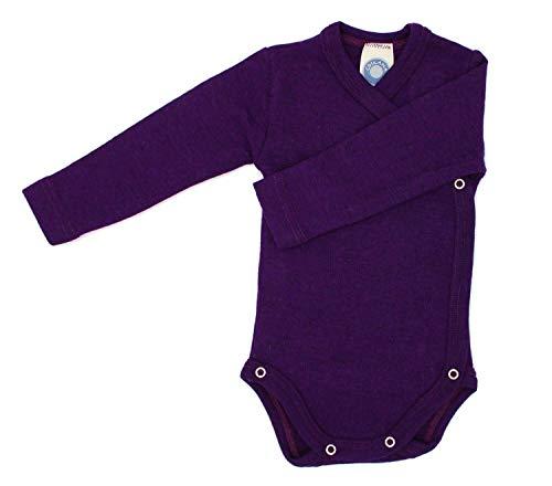 *Cosilana – Baby Wickel Body 1/1 Arm, 62/68, Pflaume, 70% Schurwolle kbT, 30% Seide*