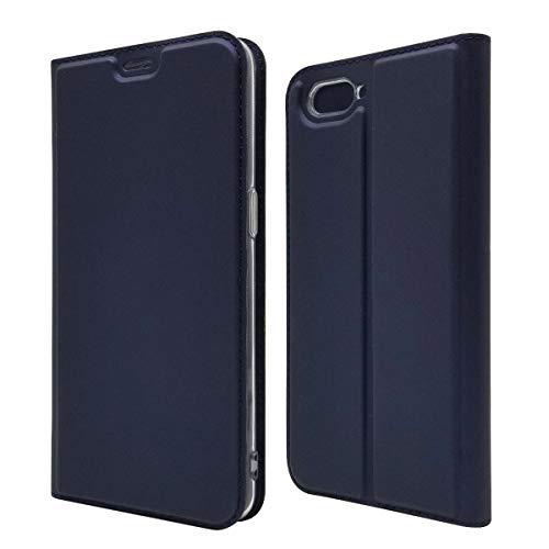 Funda® Ultra Schlank PU TPU Flip Folio Hülle mit Kartensteckplatz und Standfunktion für Oppo R15 Neo(Dunkelblau)