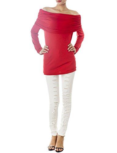 iB-iP Damen Stilvolle Falte Tube Bandage Schulter Slim Fit Trägerloses Kleid Rot