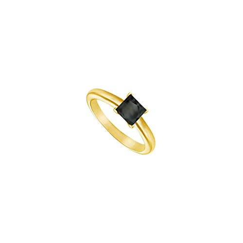 Black Diamond Princess Cut Solitaire Ring 14K Yellow Gold 0.50 CT Diamond
