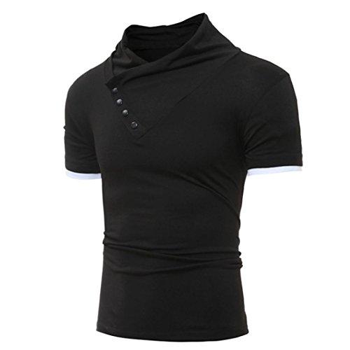 Oyedens Herren Summer GemüTlich Schlanke Passform Solid V Ausschnitt Kurzarm T Shirt Schwarz
