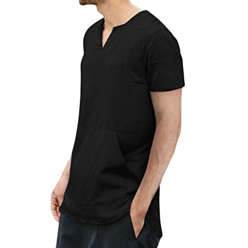 Men's T-Shirt Short Sleeve V-Neck Casual Summer Cotton Linen Tops Blouses Tank Mens,M-XXXL - Post Tulip