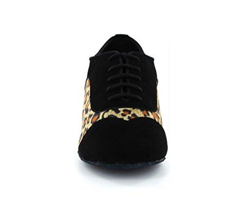 Minitoo da uomo leopardo Block da 1,5pollici tacco ballo latino scarpe da ballo Black
