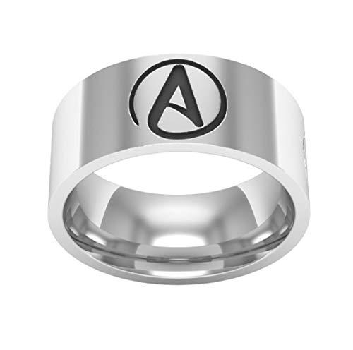 Qiuaii Titan Stahl Herren Atheist Simple Time Ring Silber Silber Größe 54 (17.2)
