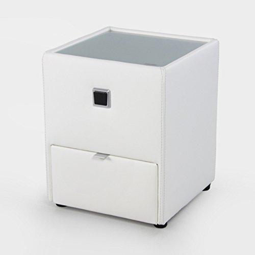 Design Nachtkommode ALEXANDRIA für Boxspringbetten weiß mit Schublade indirekte Beleuchtung Nachttisch Schlafzimmer