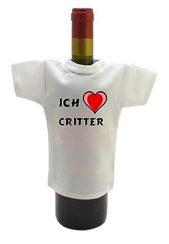 Weinflasche T-shirt mit Aufschrift Ich liebe Critter (Vorname/Zuname/Spitzname)