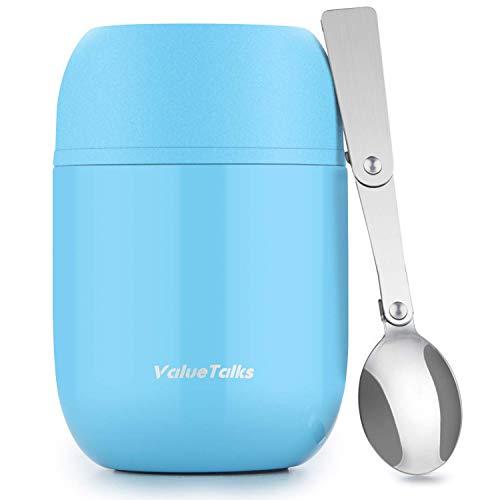 ValueTalks Thermos Alimenti 450ML,Vuoto Isolato Acciaio Inossidabile Thermos Acciaio con Un Cucchiaio Pieghevole (Blu)