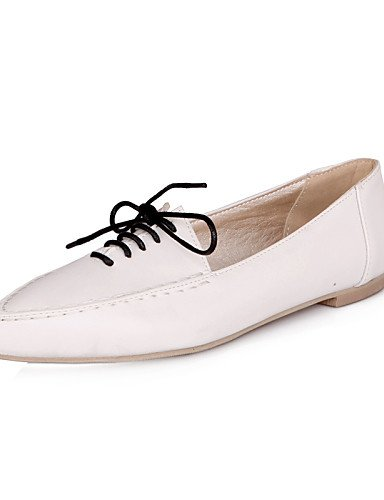 ZQ hug Scarpe Donna - Stringate - Casual - A punta - Piatto - Finta pelle - Nero / Blu / Rosso / Bianco , white-us5.5 / eu36 / uk3.5 / cn35 , white-us5.5 / eu36 / uk3.5 / cn35 black-us5 / eu35 / uk3 / cn34