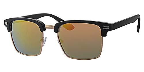 Quadratisch Sonnenbrille, frei gelb Hals Kordel, rot Spiegel Linse, Kunststoff schwarz und gold Metall Rahmen