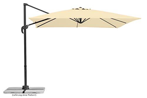 Schneider Sonnenschirm Rhodos Junior, Beige (natur), ca. 270 x 270 cm, 8-teilig, quadratisch -