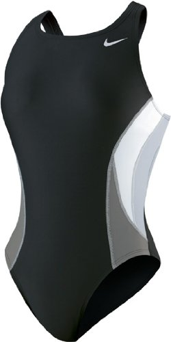 Nike Mädchen Team Color Block macht zurück Tank Badeanzug, damen Mädchen, schwarz (Tank Schwarz Badeanzug)