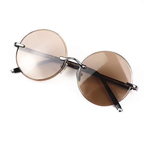 Easy Go Shopping Runde rahmenlose, rahmenlose Sonnenbrille, natürliche Kristalllinse 54MM, Unisex. Sonnenbrillen und Flacher Spiegel (Farbe : Sunglasses)
