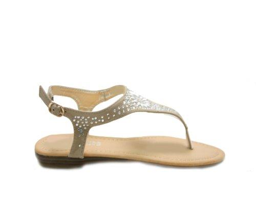 JustGlam - Scarpe Donna sandali Infradito in ecopelle con pietre tacco piatto Beige