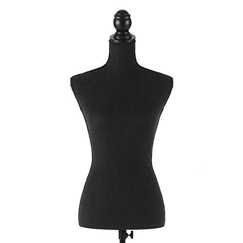 IKAYAA Maniquí Busto de Señoras Ajustable con Trípode de Pie Maniquí de Exhibición Negro