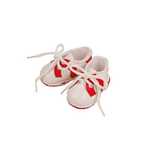 Schildkröt Puppen Schuhe Freizeitschuhe Turnschuhe Sportschuhe weiß - rot ca. 8 cm Sohlenlänge 45181 (Ca Sportschuhe)