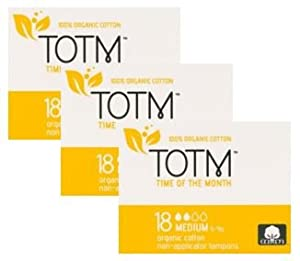 THREE PACKS OF 18 Organic cotton Non-Applicator Tampons (Medium) 100% Biodegradable, 100% Organic Cotton, pH Neutral