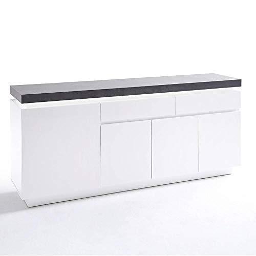 INSIDE Buffet Atlantis laqué Blanc Mat et béton 4 Portes 2 tiroirs LED Blanc Inclus