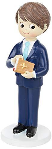 Mopec Figur Kommunion Jungen Anzug und Bibel, Polyresin, blau Marine, 6.5x 6.5x 17cm