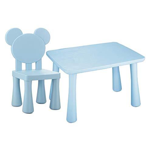 Tables CJC Bambin Enfants des Gamins Plastique Chaises Ensemble, Étude Activité Intérieur De Plein Air (Couleur : Blue1)