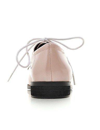 ZQ hug Scarpe Donna - Stringate - Formale - A punta - Piatto - Finta pelle - Nero / Rosa / Tessuto almond , pink-us10.5 / eu42 / uk8.5 / cn43 , pink-us10.5 / eu42 / uk8.5 / cn43 almond-us8.5 / eu39 / uk6.5 / cn40