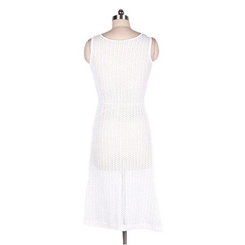 HGDR Mode Sexy Frauen-Weiß Weg Schulter Niedriger V-Ausschnitt Geteilt Crochet Sommer-Strand-Kleid-Bikini-Vertuschung White