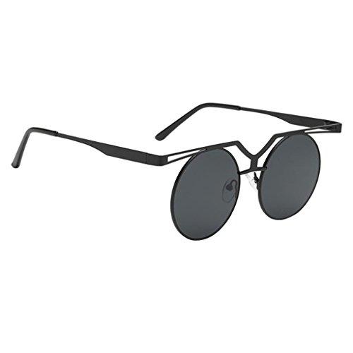 Sharplace Sonnenbrille Retro Steampunk Sonnenbrillen Frauen Männer Sonnenbrille Retro - Schwarze Asche (Steampunk Metall-brille)