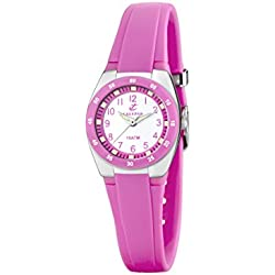 Calypso Women's Quartz Watch with White Dial Analogue Display and Pink Plastic Strap K6043/C