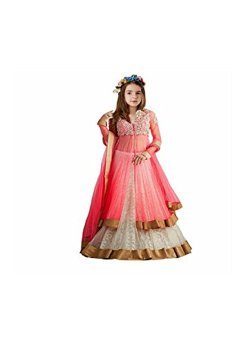 Whynot Girls Kidswear Pink Soft Net Semi-Stitched Ethnic lehenhga suit with duppatta - traditional wear ( 5- 9 yrs)