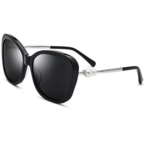 Lxc Platte Sonnenbrille Polarisierte Sonnenbrille Frauen Doppel Perle Schwarz Dicken Rahmen UV400 Schutz Graue Linse Zeige Temperament (Doppel-platte Bügel)