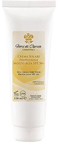 CRÈME SOLAIRE PROTÉCTION TRÈS HAUTE (SPF 50+) - Une formule riche (huile Kukui, l'acide hyaluronique, beurre de karité, jus d'aloe vera, vitamine E) qui renforce et hydrate la peau et améliore les défenses de votre corps. - Ingrédients de très haute qualité - Produit professionnel (Centres de beauté et Pharmacies) - Made in Italy - 100 ml - de Fiori di Cipria